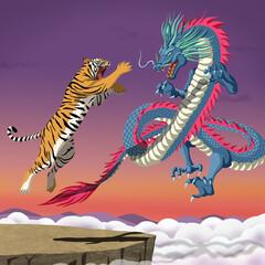 Photo sur Plexiglas Dinosaurs 용호상박 일러스트