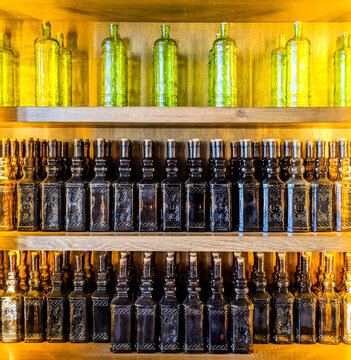 Bottles In The Rack . High quality photo