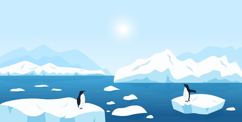 Beautiful Arctic or Antarctic landscape. North scenery with large icebergs floating in ocean and penguins. Snow mountains hills, scenic northern icy nature background
