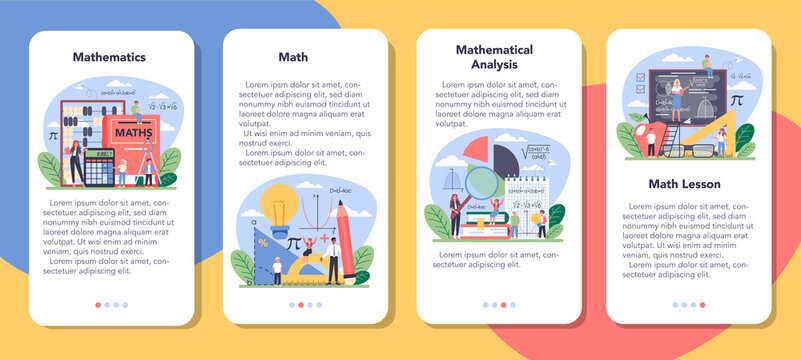Math school subject mobile application banner set. Learning mathematics
