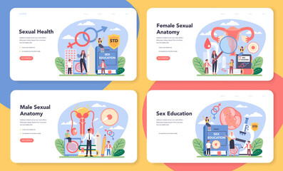 Sexual education web banner or landing page set. Sexual health lesson