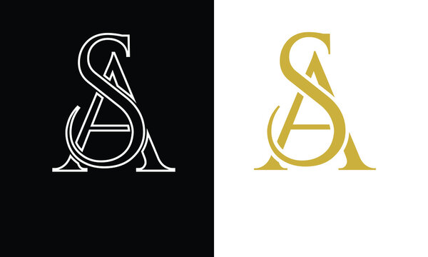 SA ,AS,S ,A  Abstract Letters Logo Monogram