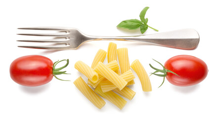 Tortiglioni pasta, fork, tomatoes and basil isolated on white background, food, conceptual composition. Top view.