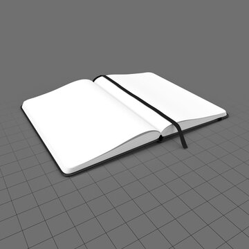 Open hardcover notebook with bookmark ribbon 1