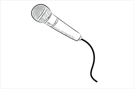 vector Simple, hand draw sketch wired microphone, Isolated on White