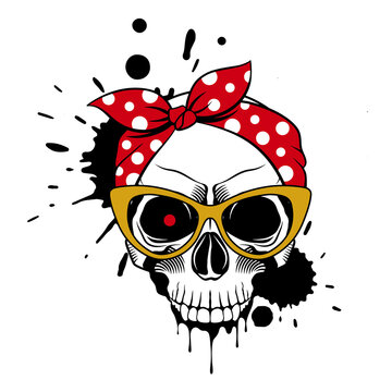 Female skull in a bandana, fashionable glasses, and drips of paint. Grunge vector illustration