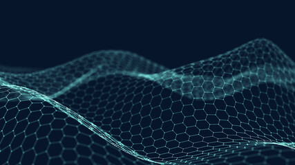 3d abstract digital technology background. Futuristic sci-fi user interface concept with gradient dots and lines. Big data, artificial intelligence, music hud. Blockchain and cryptocurrency. Papier Peint