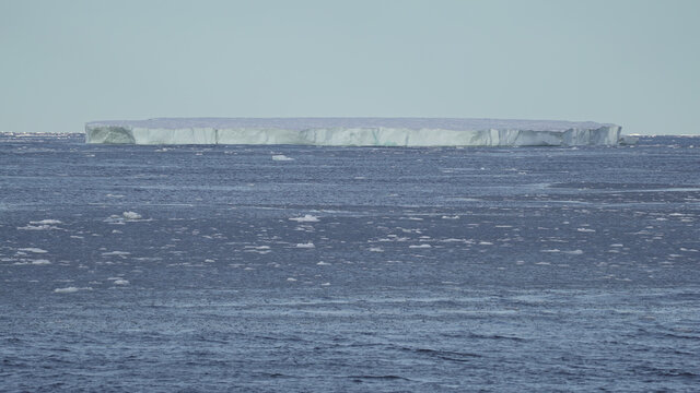 General view of the first large bit of ice seen by the crew of the Greenpeace's Arctic Sunrise ship at the Arctic Ocean