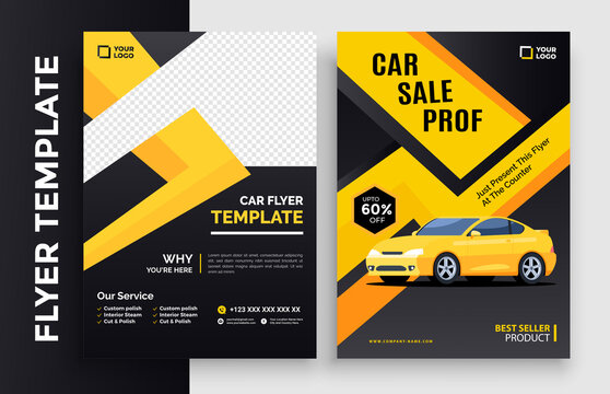Corporate car and Business Flyer poster pamphlet brochure cover design layout background, two colors scheme, vector template in A4 size - Vector