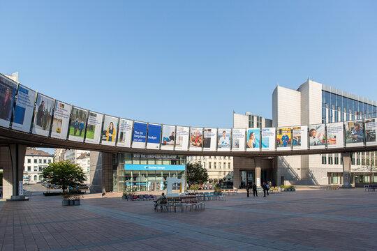Brussels, Belgium - September 14, 2020: details of the European Parliament, seat of European democracy