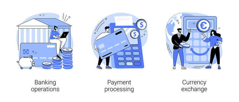 Financial services abstract concept vector illustration set. Banking operations, payment processing, currency exchange, check account, manage deposit, forex broker, cash money abstract metaphor.