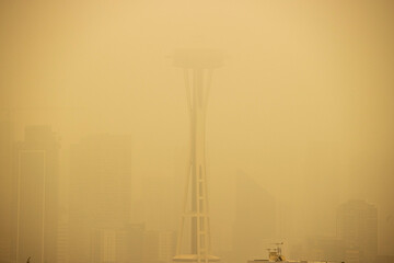 September 12, 2020, Seattle, Washington: The Space Needle in Seattle, Washington is obscured by smoke from nearby wildfires creating unhealthy levels of air quality.