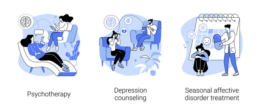 Mental health abstract concept vector illustration set. Psychotherapy, depression counseling, seasonal affective disorder treatment, behavioral cognitive therapy, private session abstract metaphor.