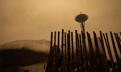 September 12, 2020, Seattle, Washington: The Space Needle in Seattle, Washington is obscured by smoke from nearby wildfires causing the air quality to be at unhealthy levels.