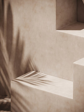 Minimal cosmetic background for product presentation. Sunshade shadow on beige plaster wall. 3d render illustration.