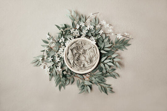 Newborn neutral background - cream bowl with eucalyprus leaves wreath on light grey background