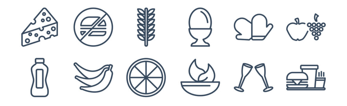 12 pack of icons. thin outline icons such as drive through, bowl with vegetables, bananas, cooking mitts, ear of wheat, forbidden burguer for web and mobile apps, logo