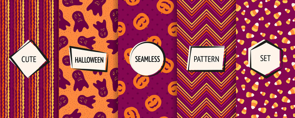 Halloween seamless patterns collection. Vector set of stylish background swatches with modern minimal labels. Cute abstract textures for kids. Design with pumpkins, ghosts, candy corn, chevron, stripe
