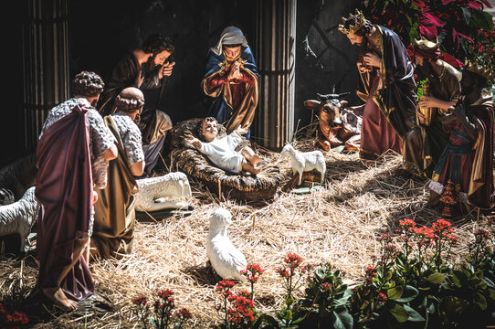 Statue of the nativity of the baby jesus Our Lady and Joseph are by your side. Birth of Jesus. Pure love without conditions. Christians all over the world delight in this nativity scene. on christmas