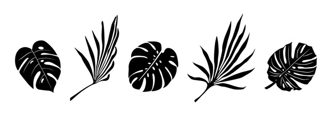 Tropical flowers, palm leaves, jungle leaves, hibiscus. Vector exotic floral illustration, Hawaiian bouquet for greeting card, wedding, Wallpaper. Set of abstract tropical leaves. Monstera, palm Wall mural