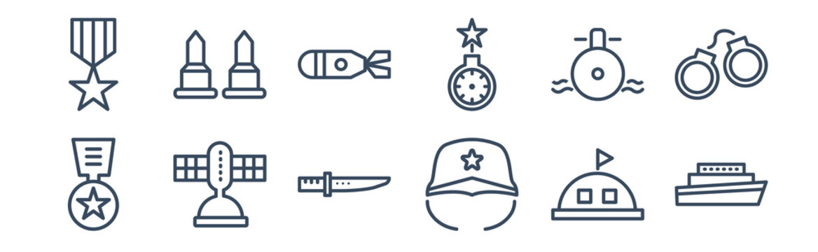 12 pack of icons. thin outline icons such as militar ship, military helmet, military satellites, submarine front view, torpedo, two bullets for web and mobile apps, logo