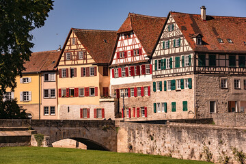 Half-timbered houses on the Steinernen Steg in the old town of Schwaebisch Hall in Germany