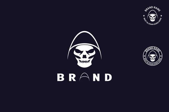 Grim Reaper, Modern skull head logo,mascot badge and symbol, with letter A design concept.