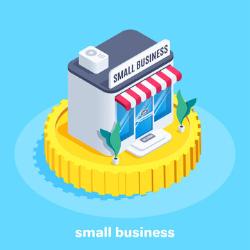 isometric vector image on blue background, shop on gold coin and lettering small business