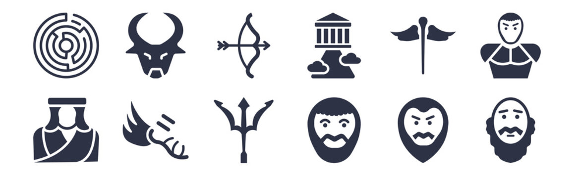 12 pack of black filled icons. glyph icons such as socrates, plato, hermes, caduceus, olympus, artemis, minotaur for web and mobile apps, logo