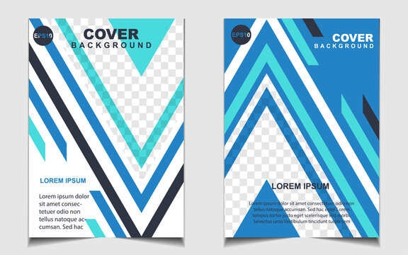 Modern blue and white a4 brochure cover design background template for business and corporate. Layout space for photo. Vector graphic can use company profile, flyer, presentation, advertising, banner