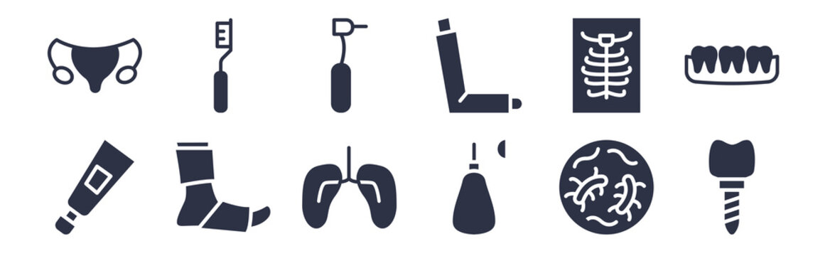 12 pack of black filled icons. glyph icons such as implants, anesthesia, plaste foot, x ray, inhalator, dental drill, tooth brush for web and mobile apps, logo