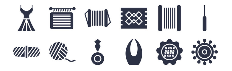 12 pack of black filled icons. glyph icons such as spokes, thread nippers, wool ball, wire coil, hand craft, cotton reel, handloom for web and mobile apps, logo
