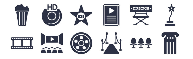 12 pack of black filled icons. glyph icons such as theatre pillar, carpet, movie theatre, film director, film poster, film star, hd dvd for web and mobile apps, logo