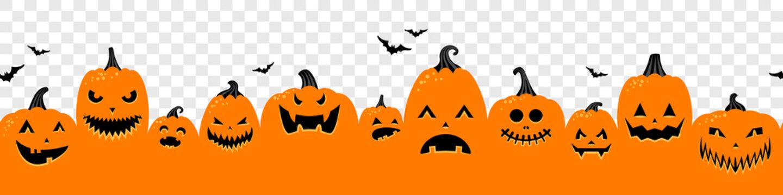 Halloween pumpkins orange banner isolated on transparent background illustration