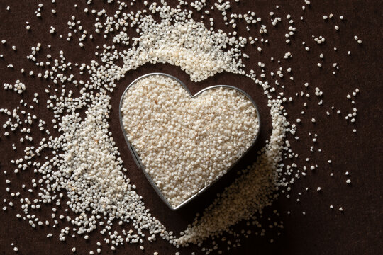 Uncooked Fonio Grain in a Heart Shape