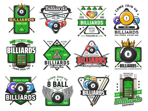 Billiards pool game, snooker sport club icons, vector poolroom championship and tournament. Billiards royal club and pool snooker signs of cues, 8 eight ball with wing, triangle rack and green table