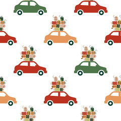 Patterns. Car with Christmas gifts.