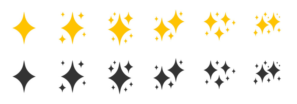 Yellow, black flat sparkles symbols icon set. Element shiny flash. Decoration starry twinkle. Glitter bright different shape, burst firework glowing light effect Isolated on white vector illustration