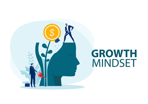 businessman Water the plants money think for growth mindset concept vector