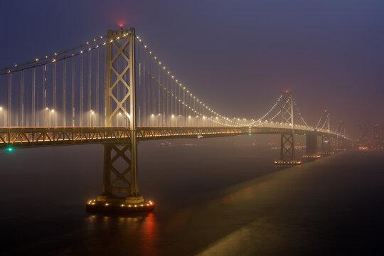 Bay Bridge in thick smoke during 2020 California Wildfires