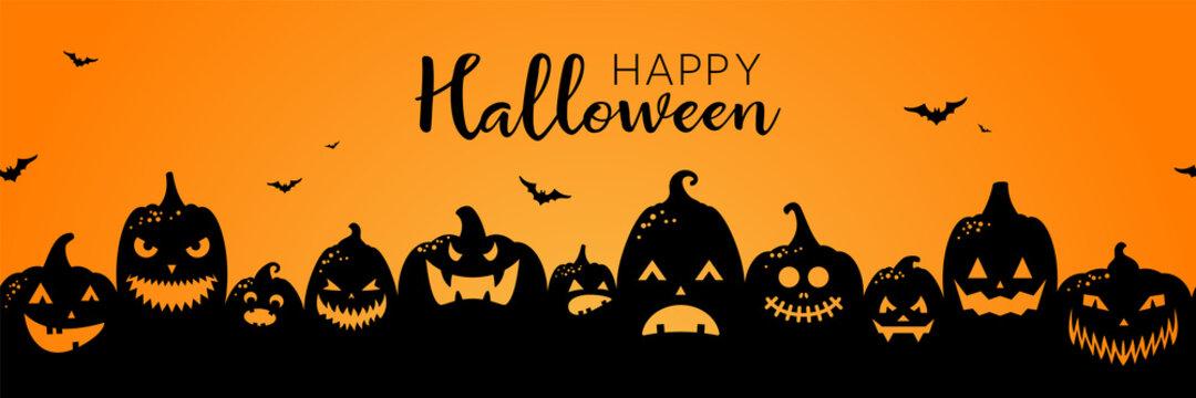 Halloween pumpkins black silhouette banner background illustration