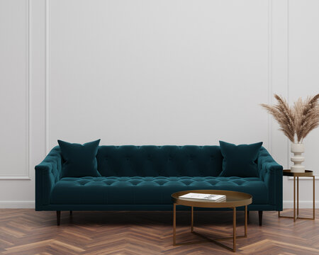 Green Velvet Suede Tufted Sofa Couch Mid-Century Modern Living Room Blank Empty Wall Copy Space