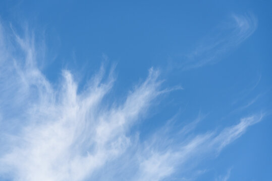 Fresh air, bright blue sky with wispy white clouds, as a nature background