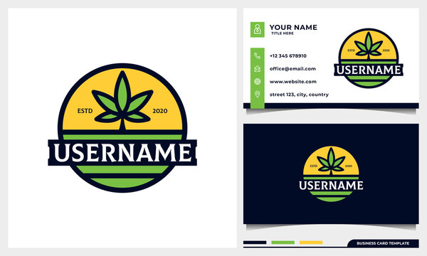 badge Agriculture with Cannabis leaf and sun concept  logo design with business card template