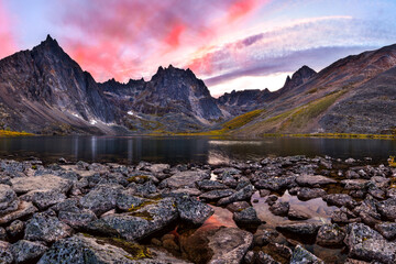 Fantastic sunset view over a Grizzly Lake in Tombstone Territorial Park, Canada