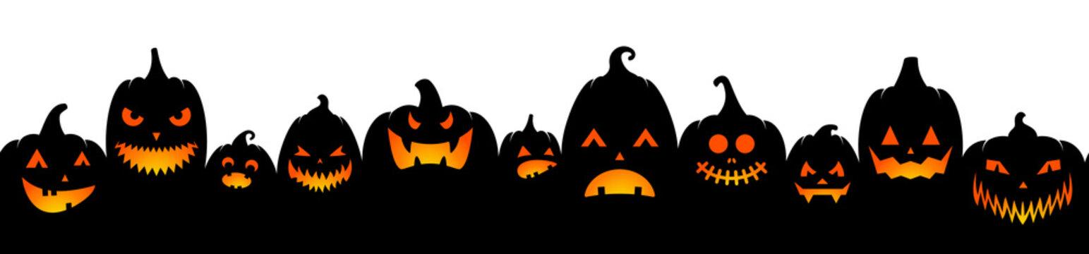 Black halloween pumpkin lantern silhouette seamless pattern illustration isolated