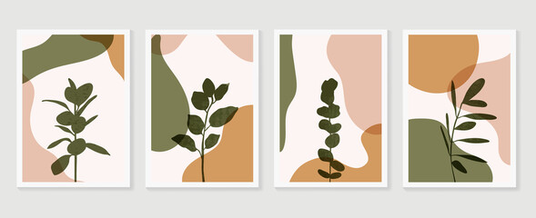 Door stickers Wall Decor With Your Own Photos Abstract Geometric shapes vector collection. Abstract organic shape background design for wedding invitation, clipart, print, cover, wallpaper, Wall art, Mid century modern art. Vector illustration..