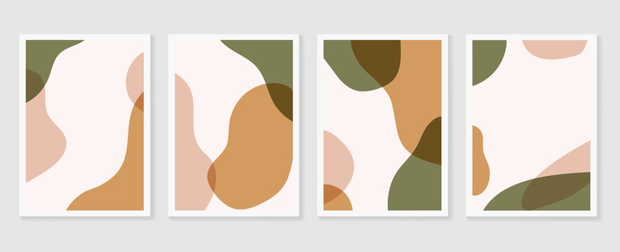 Abstract Geometric shapes vector collection. Abstract organic shape background design for wedding invitation, clipart, print, cover, wallpaper, Wall art, Mid century modern art. Vector illustration..