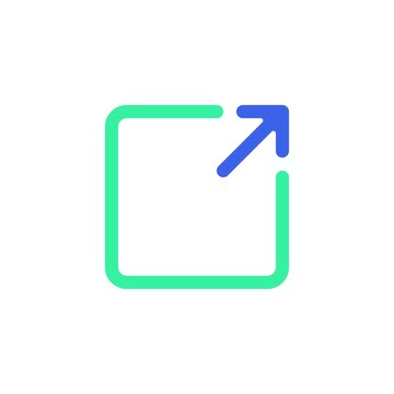 External link icon vector, filled flat sign, bicolor pictogram, share arrow green and blue colors. Symbol, logo illustration