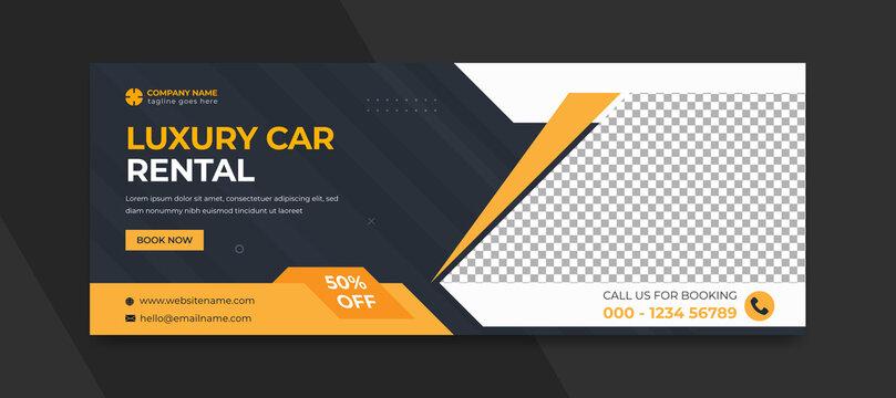 Luxury car rent banner modern web banner template